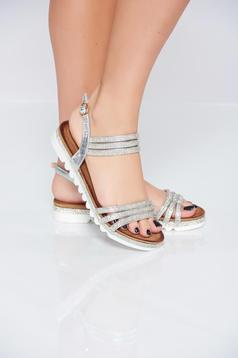 Silver light sole sandals with strass