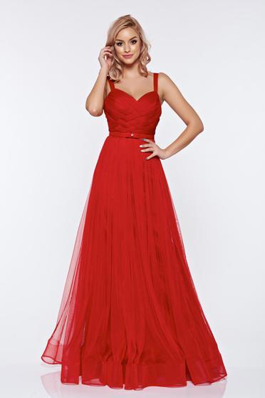 Ana Radu red evening dresses dress with braces accessorized with tied waistband