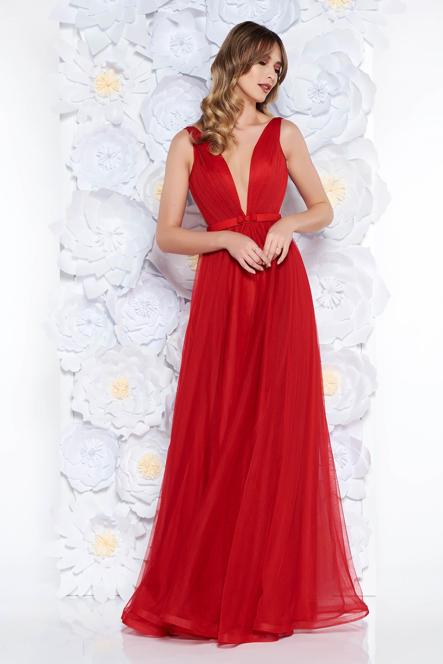 Rochie Ana Radu rosie de lux tip corset din tul captusita pe interior