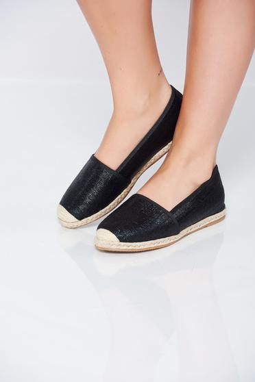 Black espadrilles low heel metallic aspect