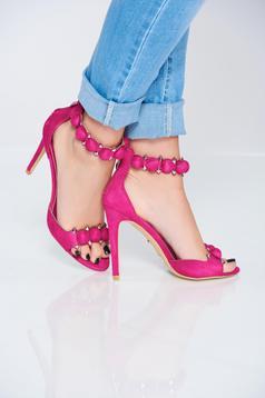 Fuchsia sandals with tassels metallic spikes