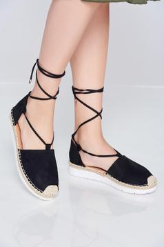 Black casual espadrilles with laced details