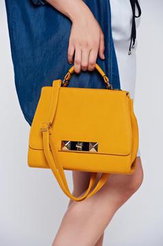 Yellow elegant bag metallic buckle
