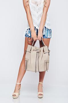 Cream bag metallic buckle short handles