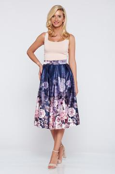 Cloche purple elegant skirt with floral print