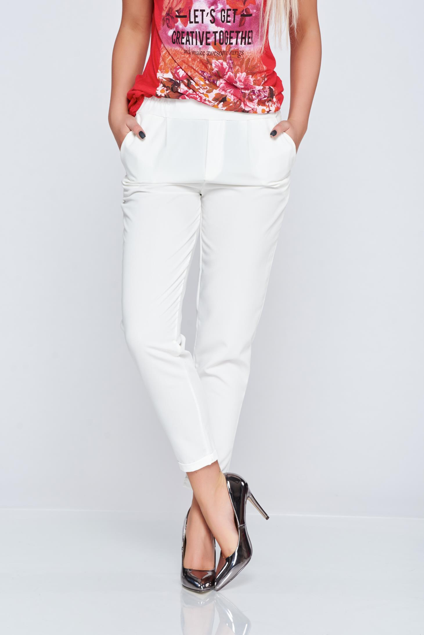 Pantaloni casual conici albe cu elastic in talie