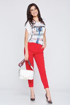 Red conical casual trousers elastic waist