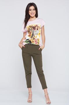 Darkgreen conical casual trousers with elastic waist