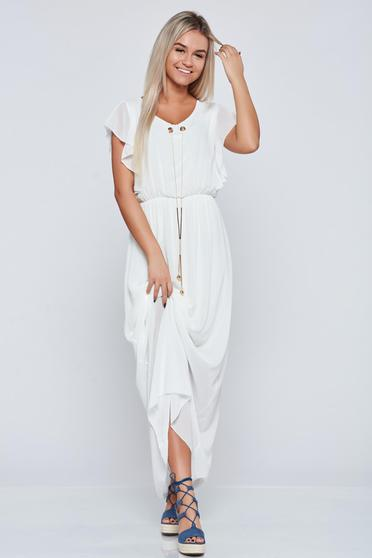 White long elegant dress accessorized with chain