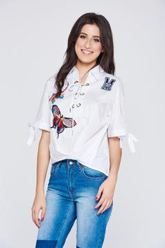 White embroidered asymmetrical casual women`s shirt with ribbon fastening