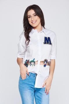 White embroidered casual women`s shirt with cut out material