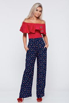 StarShinerS blue high waisted trousers with pockets and floral prints