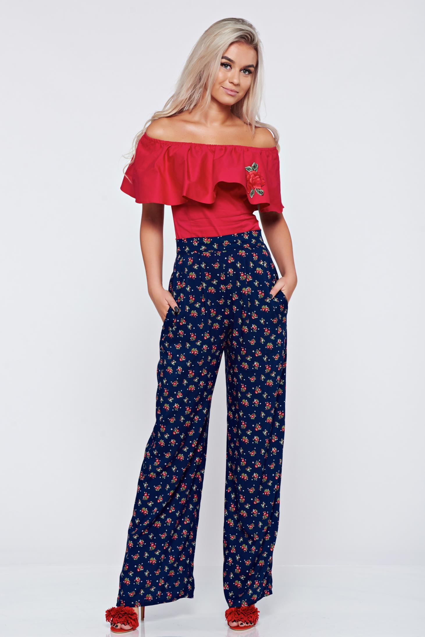 Pantaloni StarShinerS albastri cu talie inalta cu buzunare