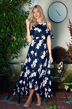 Long StarShinerS both shoulders cut out darkblue airy fabric dress