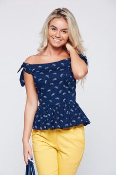 StarShinerS darkblue on the shoulders top shirt with frilled waist