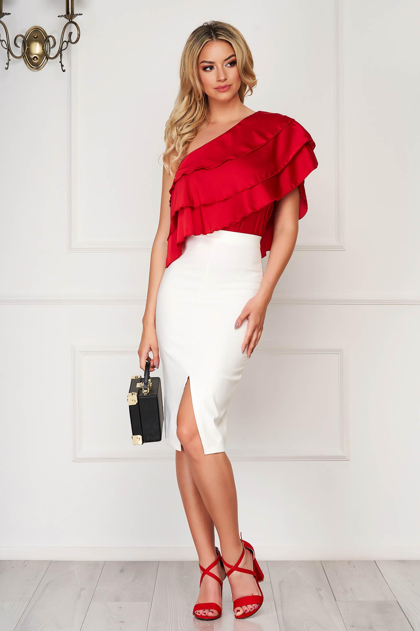 Elegant StarShinerS white high waisted pencil skirt