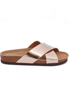 Top Secret gold casual slippers with light sole