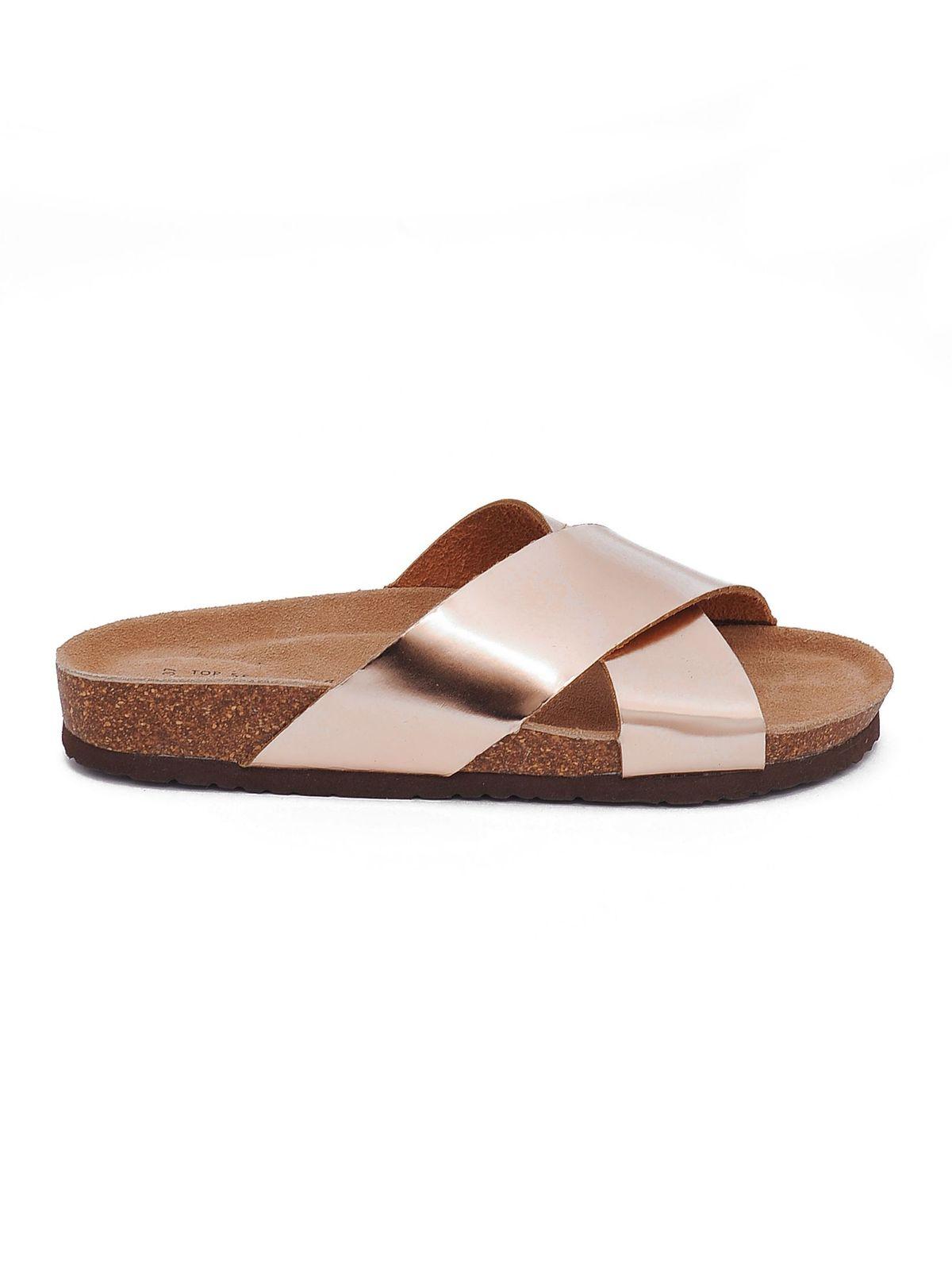 Papuci casual Top Secret aurii cu talpa usoara
