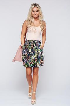 Top Secret cloche black casual skirt with floral prints