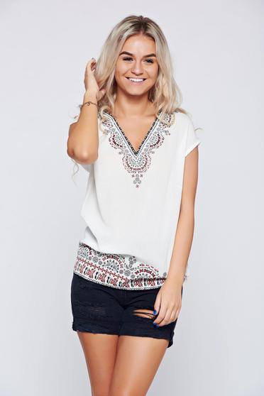 Top Secret white flared women`s blouse with short sleeve