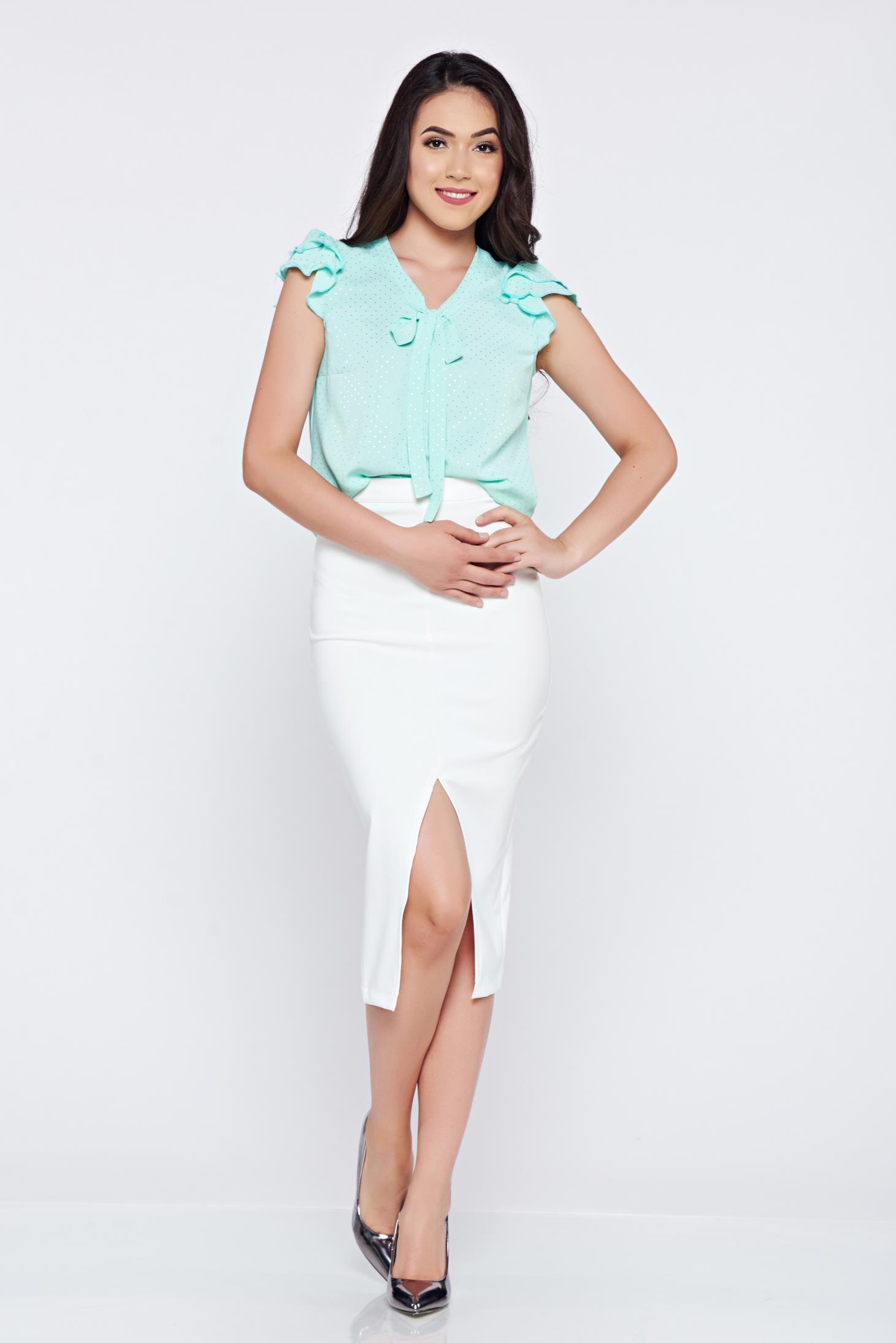 Bluza dama Fofy mint din material vaporos cu maneci tip fluture