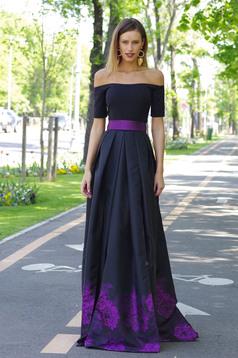 Artista purple dress with satin fabric texture elegant cloche