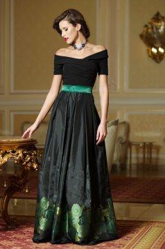 Artista green dress with satin fabric texture elegant cloche