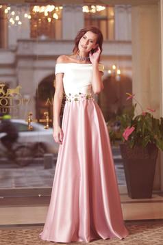 Artista rosa long dress embroidery details