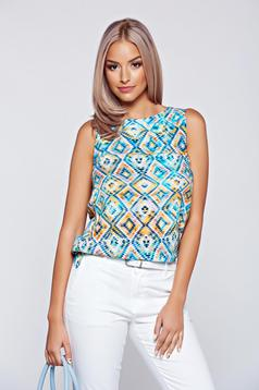 Top Secret blue airy fabric sleeveless women`s blouse