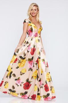 Artista cream occasional dress with satin fabric texture with v-neckline