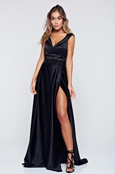 Occasional Artista black dress with satin fabric texture push-up cups