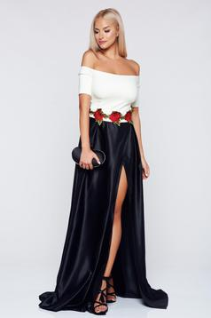 Artista black dress with satin fabric texture and embroidery details