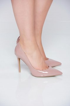 Cream high heels elegant shoes slightly pointed toe tip