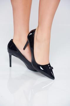 Elegant black stiletto ecological leather shoes
