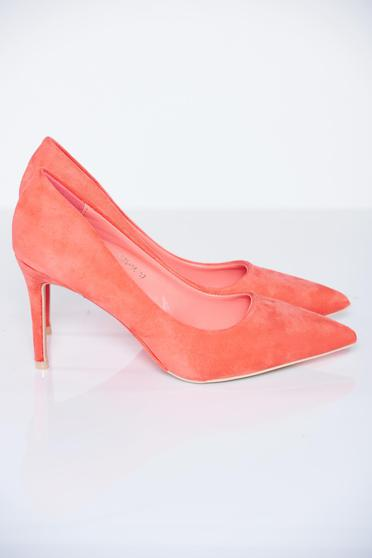 Elegant high heels coral stiletto ecological leather shoes