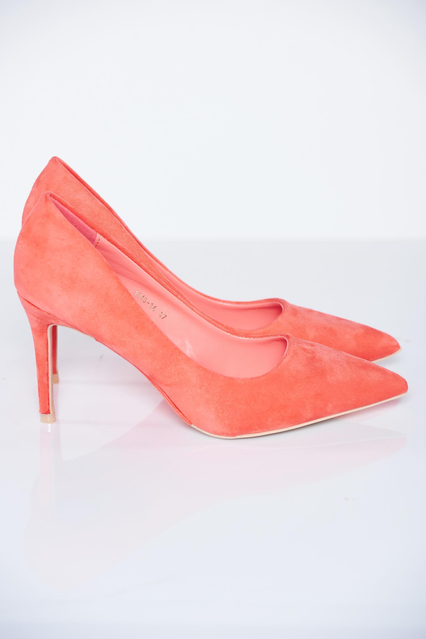 Pantofi stiletto corai eleganti cu toc inalt din piele ecologica