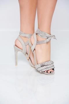 Grey sandals wrinkled fabric