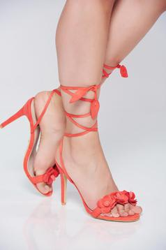 Coral high heels sandals thin straps
