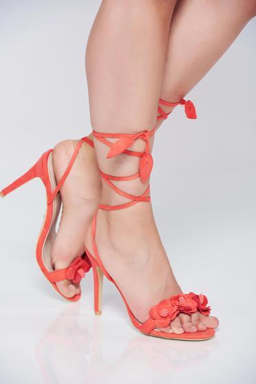 Coral high heels sandals thin straps