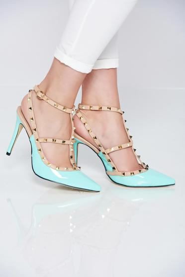 High heels mint stiletto shoes with metallic spikes