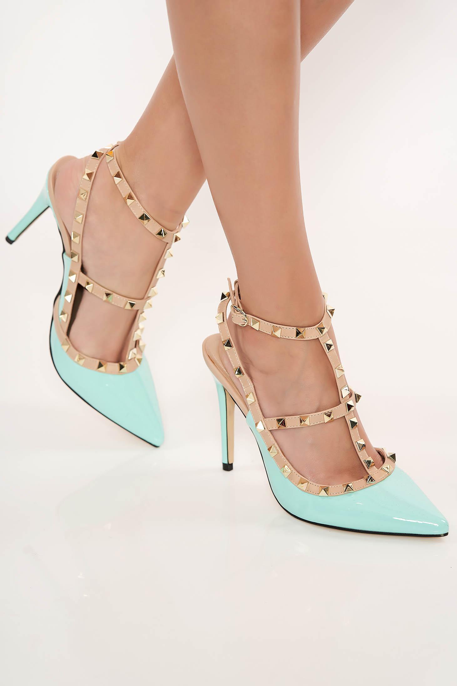 Pantofi stiletto mint cu toc inalt din piele ecologica lacuita cu tinte metalice
