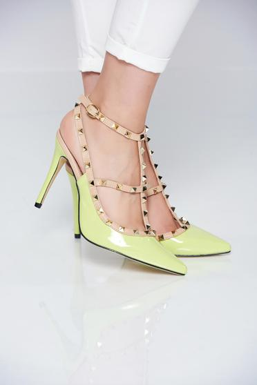 High heels lightgreen stiletto shoes with metallic spikes
