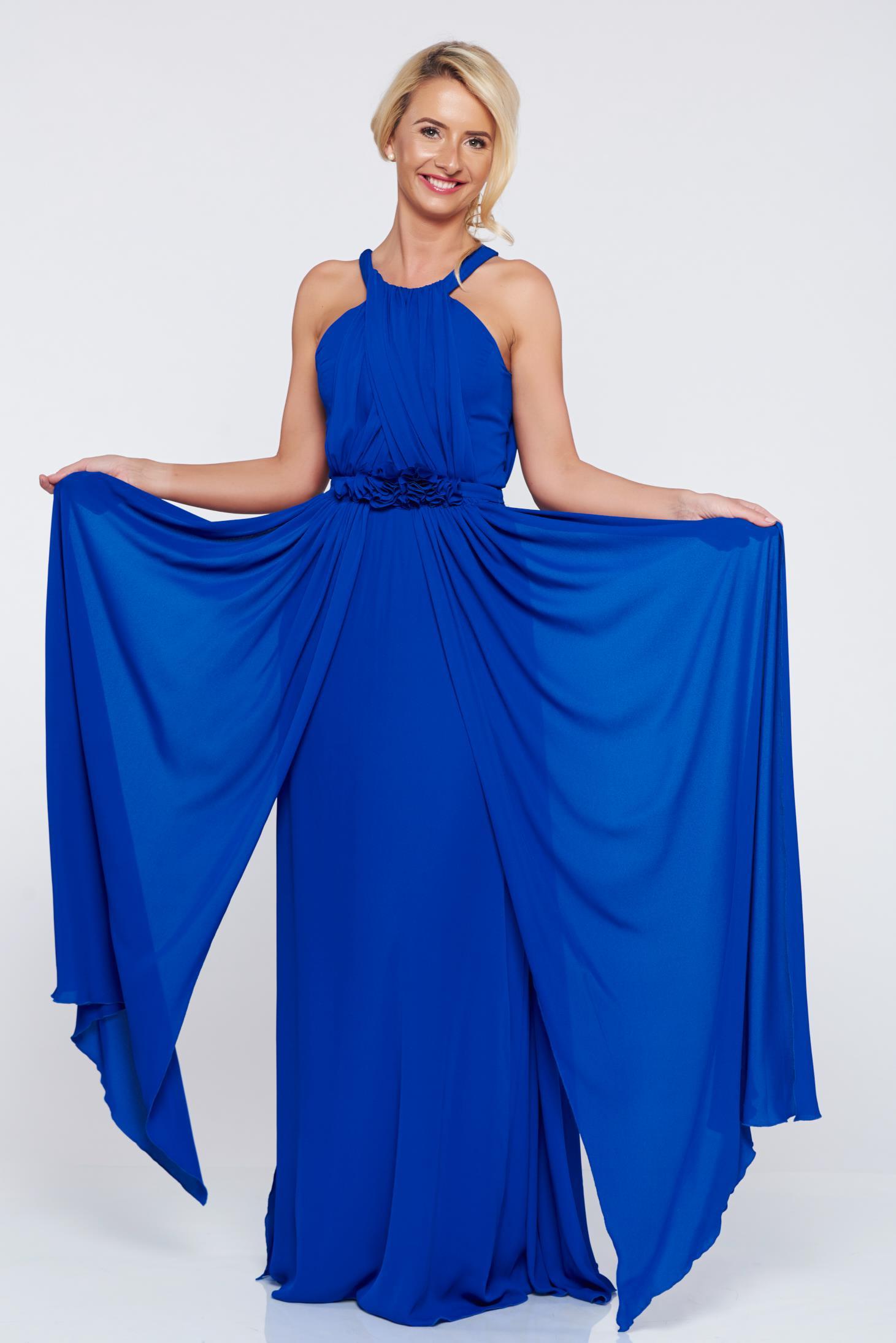 Rochie LaDonna albastra lunga de ocazie fara maneci