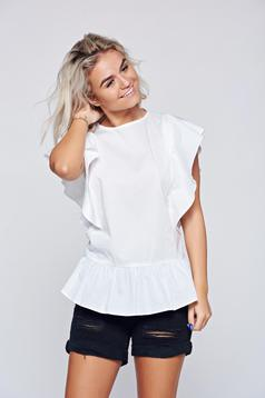 Cotton LaDonna white casual women`s blouse with ruffled sleeves