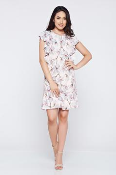 Flared LaDonna rosa casual dress with ruffled sleeves