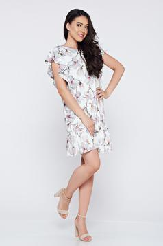 Flared LaDonna grey casual dress with ruffled sleeves