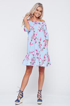 LaDonna flared lightblue cotton dress with floral prints