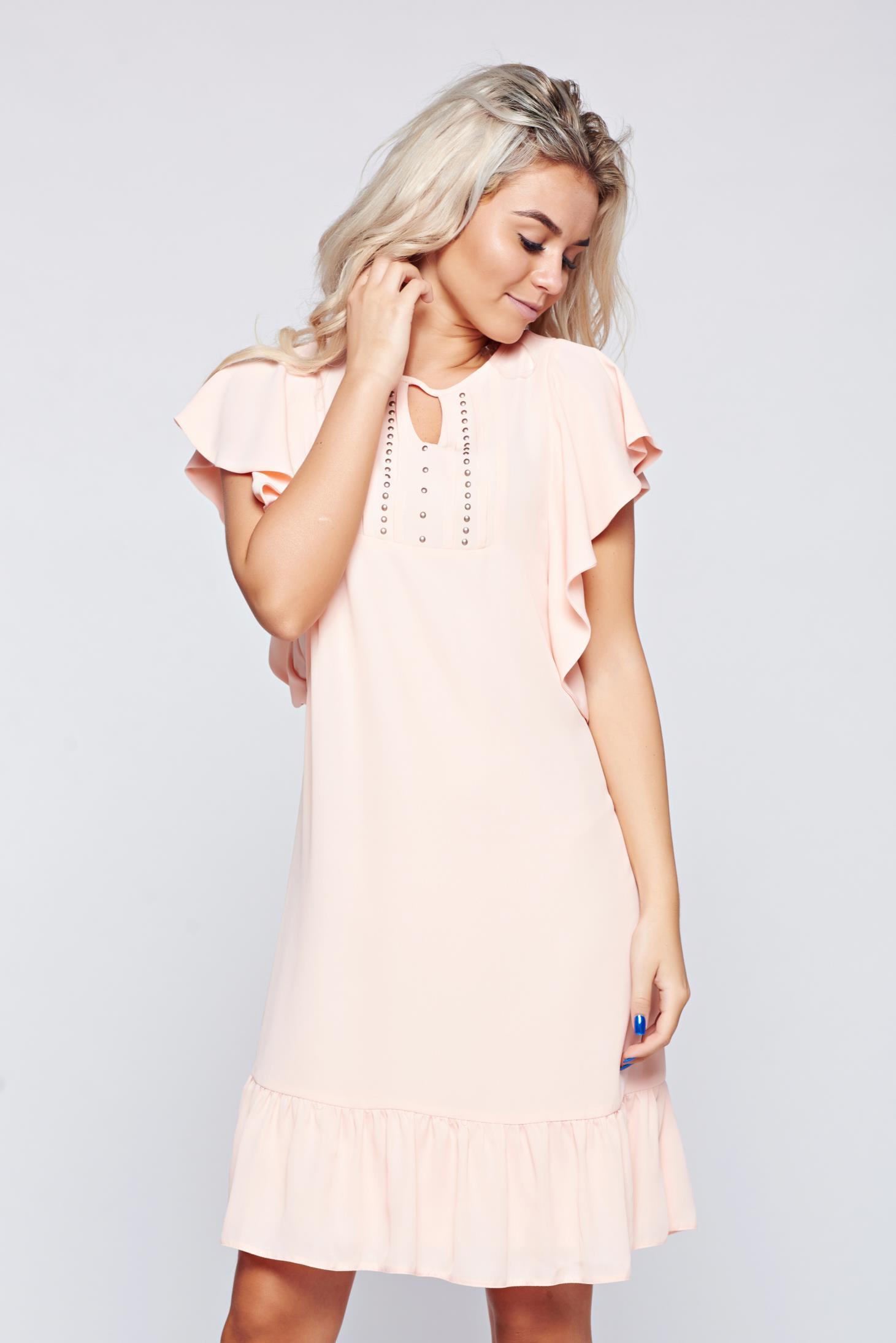 Rochie LaDonna rosa din voal cu croi larg cu aplicatii cu margele
