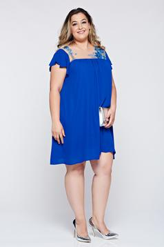Flared LaDonna blue occasional dress with embroidery details