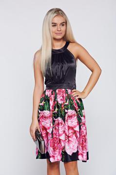 LaDonna black elegant cloche with satin fabric texture dress